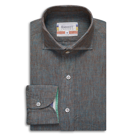 Green and Brown Linen Shirt - Emmett London - Jermyn Street & Kings Road Shirtmakers