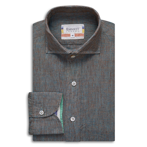 Green and Brown Linen Shirt