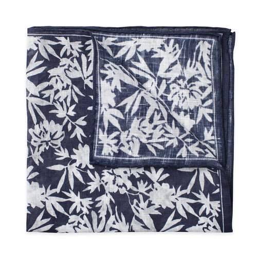 Navy Floral Print Linen Pocket Square