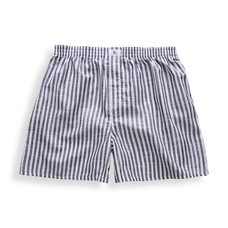 Dark Blue Striped Boxer Short - Emmett London - Jermyn Street & Kings Road Shirtmakers