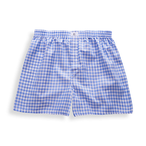 Light Blue Checked Boxer Shorts - Emmett London - Jermyn Street & Kings Road Shirtmakers