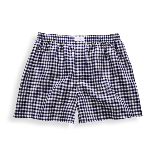 Dark Blue Checked Boxer Shorts