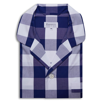 Large Dark Blue Checked Pyjamas - Emmett London - Jermyn Street & Kings Road Shirtmakers