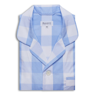 Large Light Blue Checked Pyjamas - Emmett London - Jermyn Street & Kings Road Shirtmakers