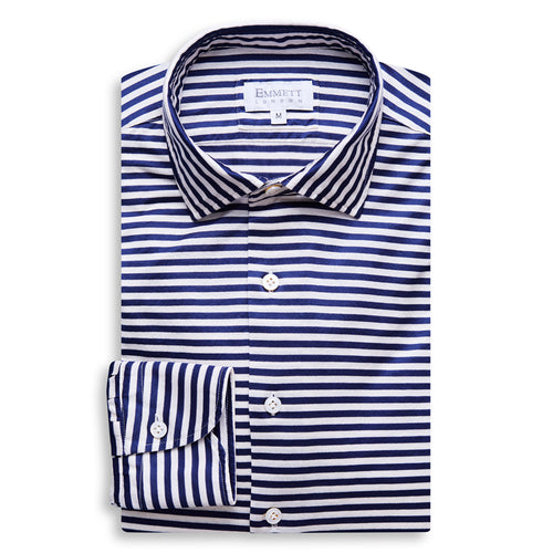 Blue and White Stripe Jersey Shirt