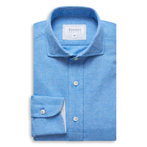 Electric Blue Brushed Cotton Shirt