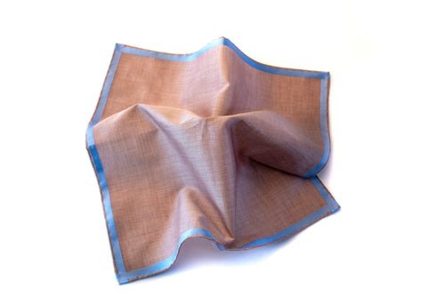 Brown Satin With Blue Border Pocket Square