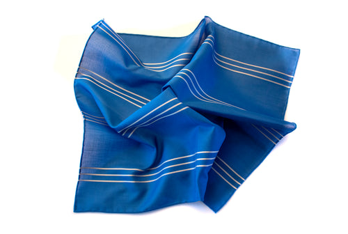 Ocean Blue With Triple White Stripe Pocket Square