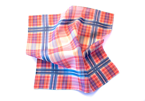 Red Madras Check Pocket Square