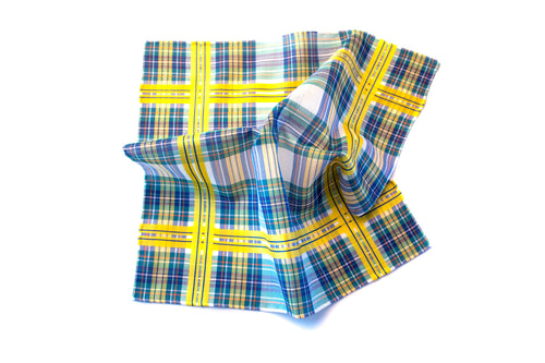 Green Madras Check Pocket Square