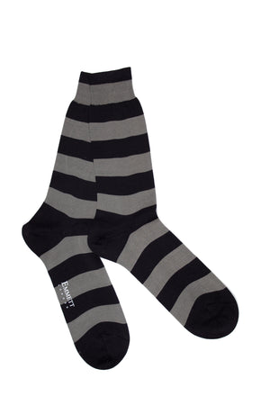 Brown & Grey Striped Socks - Emmett London - Jermyn Street & Kings Road Shirtmakers