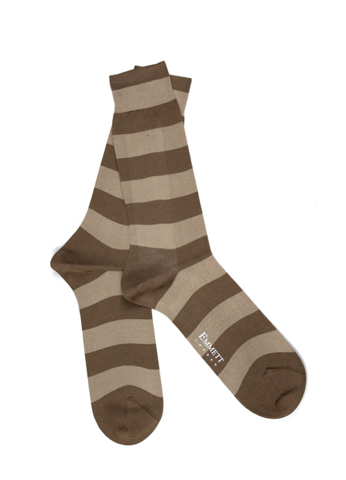 Tobacco & Beige Striped Socks