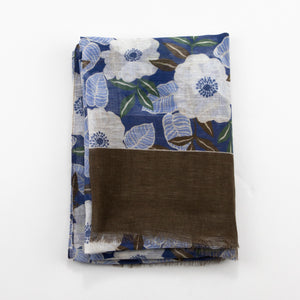 Navy & Dark Brown Floral Summer Scarf - Emmett London - Jermyn Street & Kings Road Shirtmakers