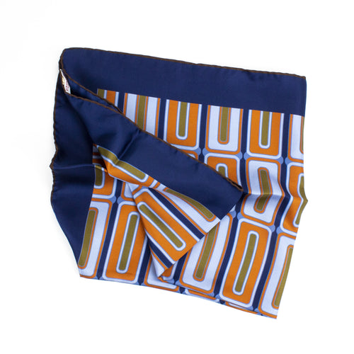 Blue Geometric Silk Bandana