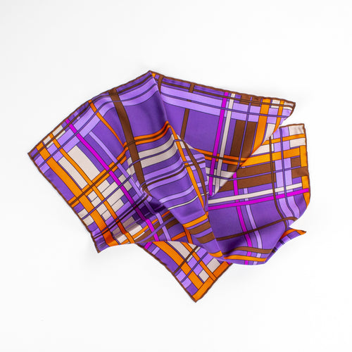 Purple Neon Check Silk Pocket Square