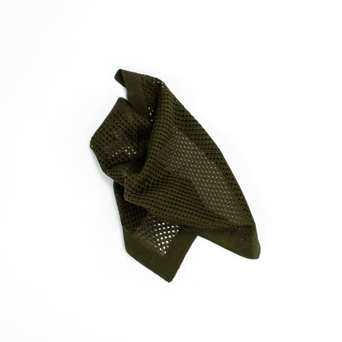 Dark Green Knitted Silk Pocket Square