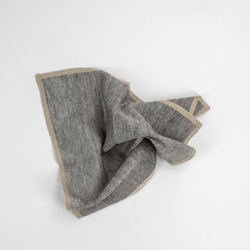 Light Grey Linen and Silk Pocket Square