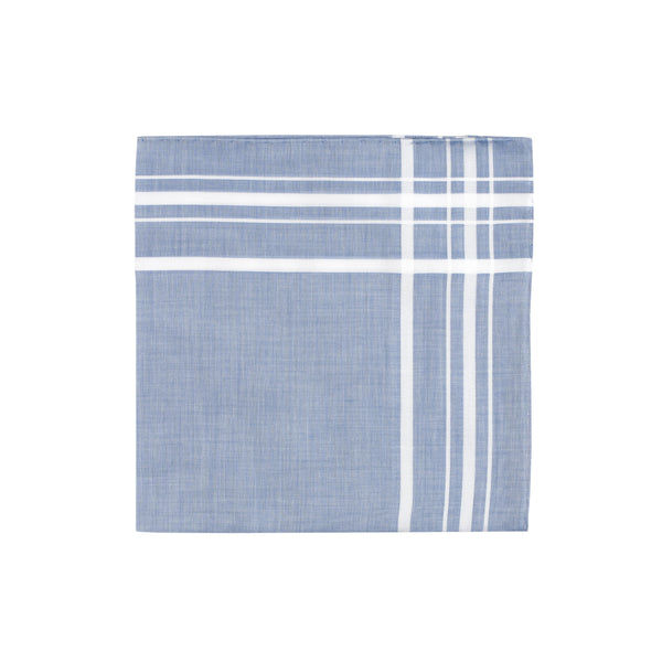 Blue White border Handkerchief - Emmett London - Jermyn Street & Kings Road Shirtmakers