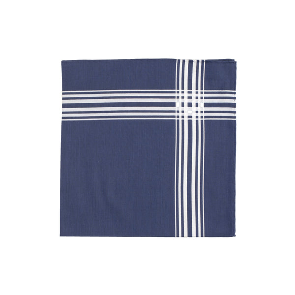 Navy White border Handkerchief - Emmett London - Jermyn Street & Kings Road Shirtmakers