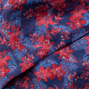 Blue and Red Hawaiian Silk and Linen Scarf