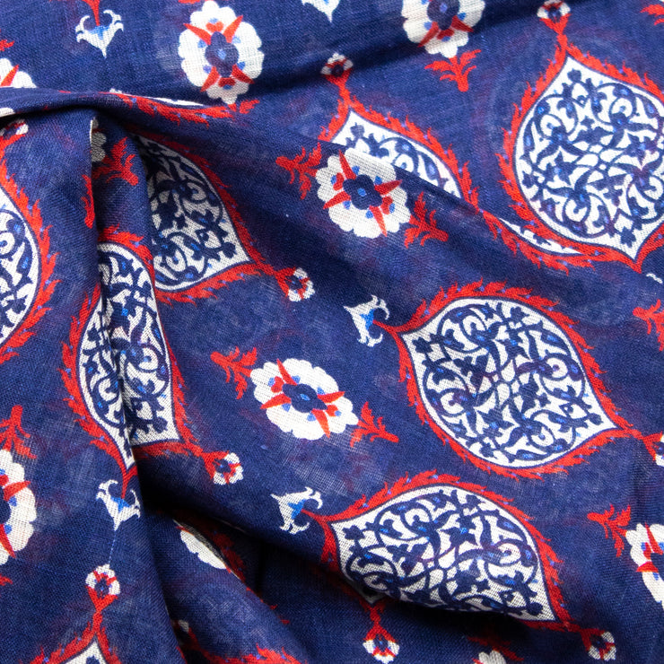 Navy Medallion Silk and Linen Scarf