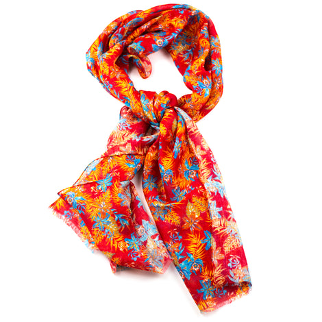 Red and Orange Hawaiian Silk and Linen Scarf