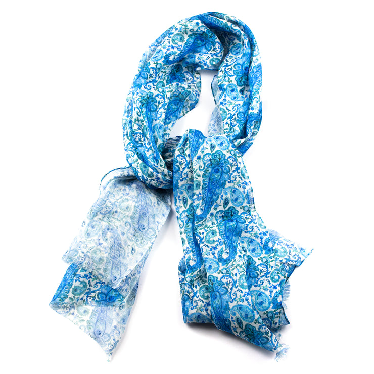 White and Blue Paisley Silk and Linen Scarf