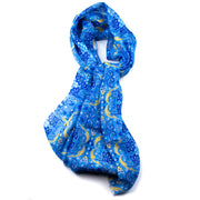 Light Blue Floral Silk and Linen Scarf