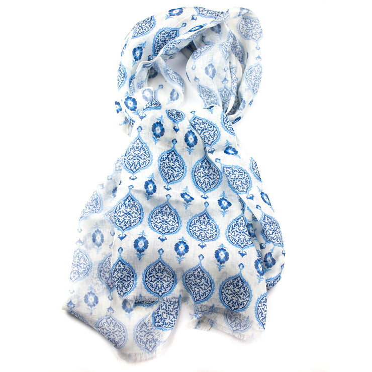 White and Blue Medallion Silk and Linen Scarf