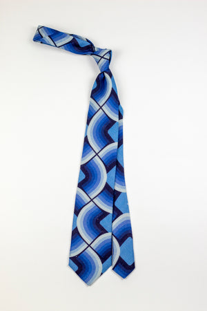 Wavey Blue Tie - Emmett London - Jermyn Street & Kings Road Shirtmakers