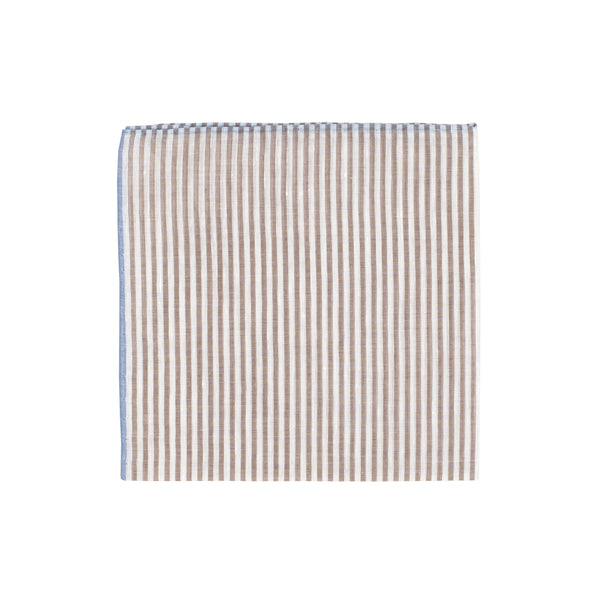 Brown Stripe Handkerchief - Emmett London - Jermyn Street & Kings Road Shirtmakers