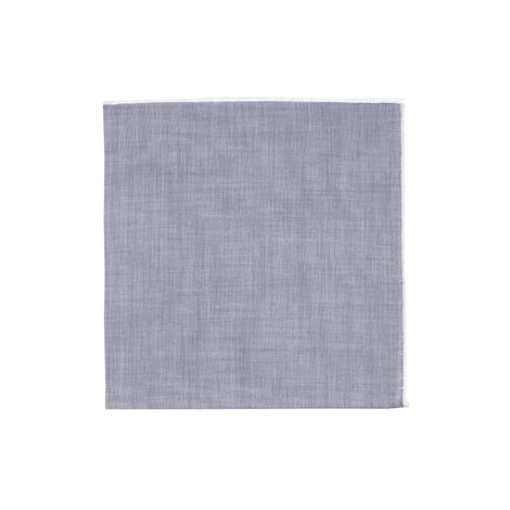 Chambray White Piping Handkerchief - Emmett London - Jermyn Street & Kings Road Shirtmakers