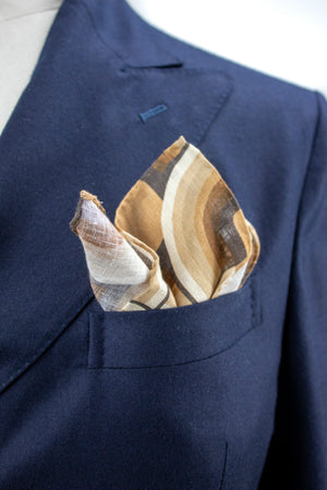 Brown Waves Pocket Square - Emmett London - Jermyn Street & Kings Road Shirtmakers