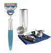 eShave Razor Travel Nickel & Blue - Fusion System