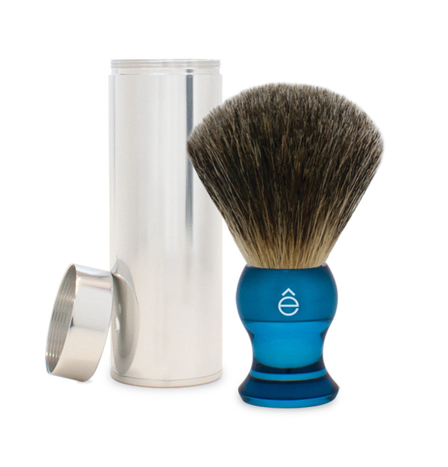 eShave Travel Brush Blue - Fine Badger with Can