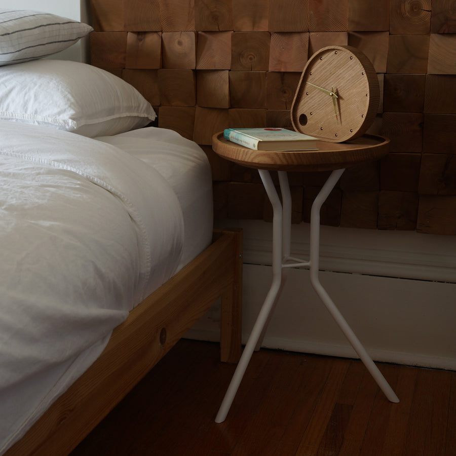 White Oak and White Steel Side Table Tray