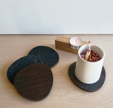 Coasties - Felt and Charred Wood Coasters