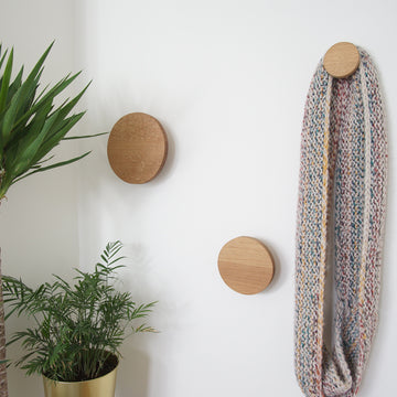 White oak wall hooks