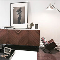 Load image into Gallery viewer, a solid walnut chair for displaying records