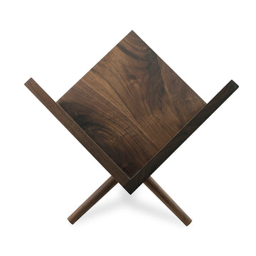 a custom solid walnut chair to display vinyl records
