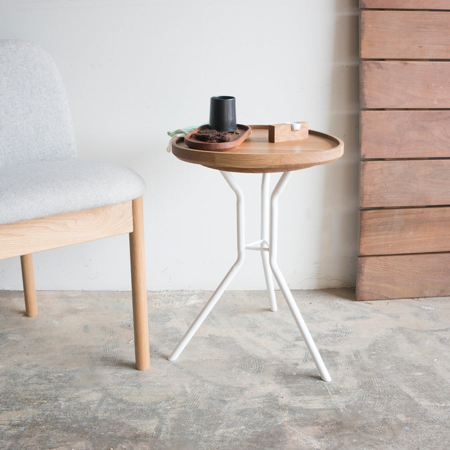 White Oak End Table with White Steel Base