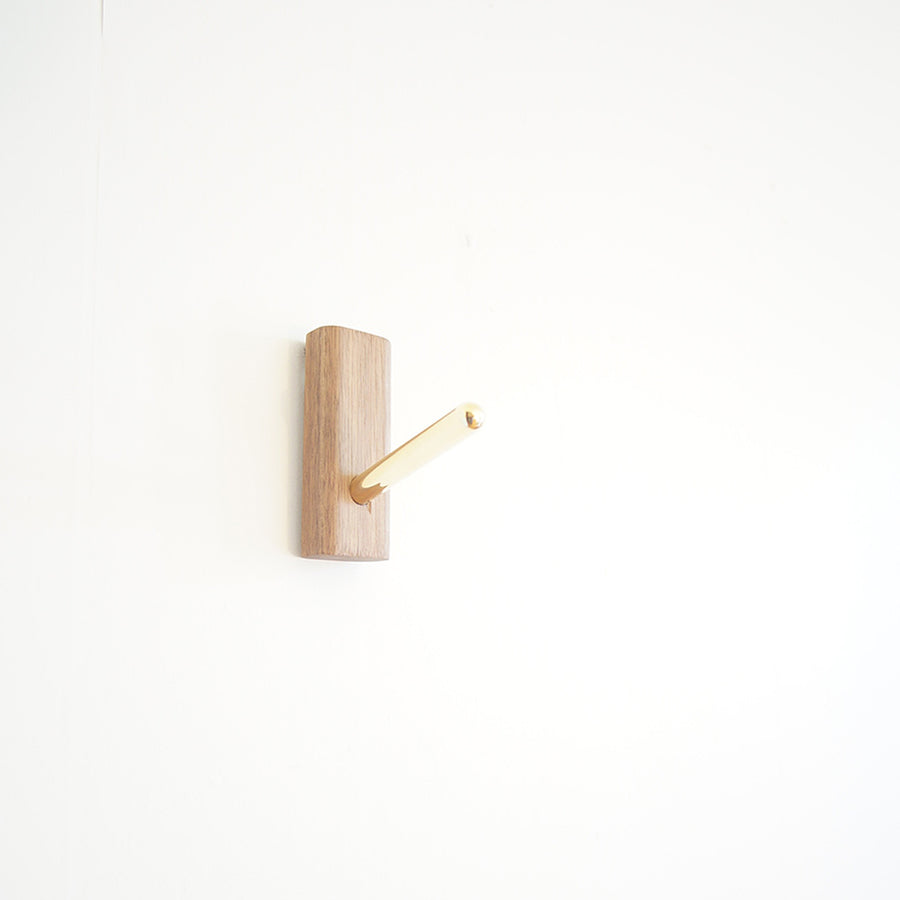wood and brass wall hook
