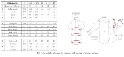 edward sexton shirt size chart fit guide sizing