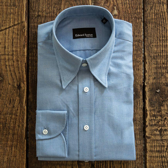 Edward Sexton x He Spoke Style Powder Blue Brushed Cotton Shirt
