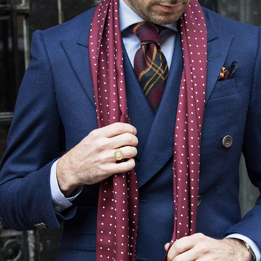 burgundy silk scarf dots