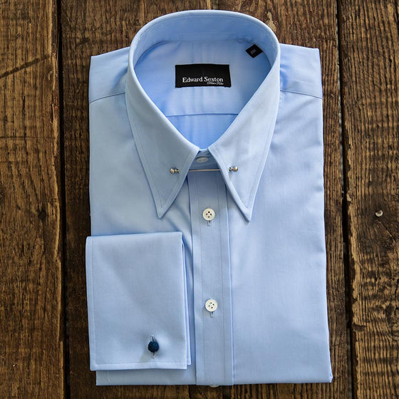 pin collar shirt blue slim fit