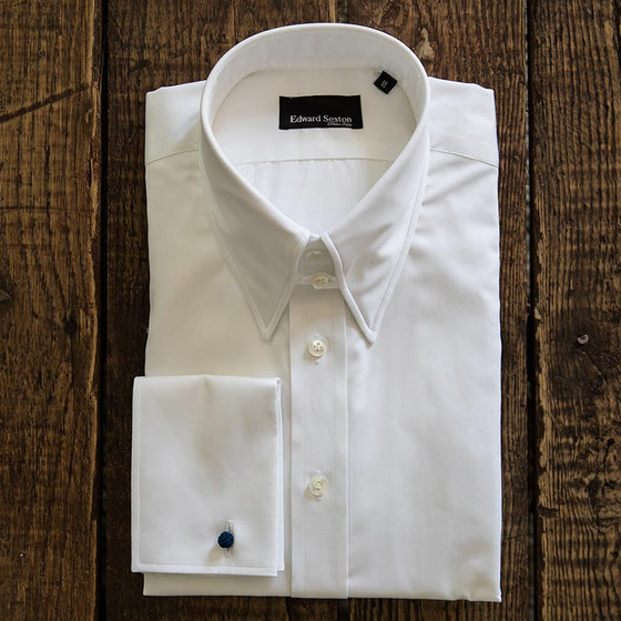 tab collar shirt slim fit white