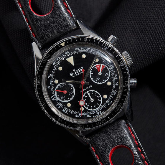 lejour chronograph vintage watch triple register