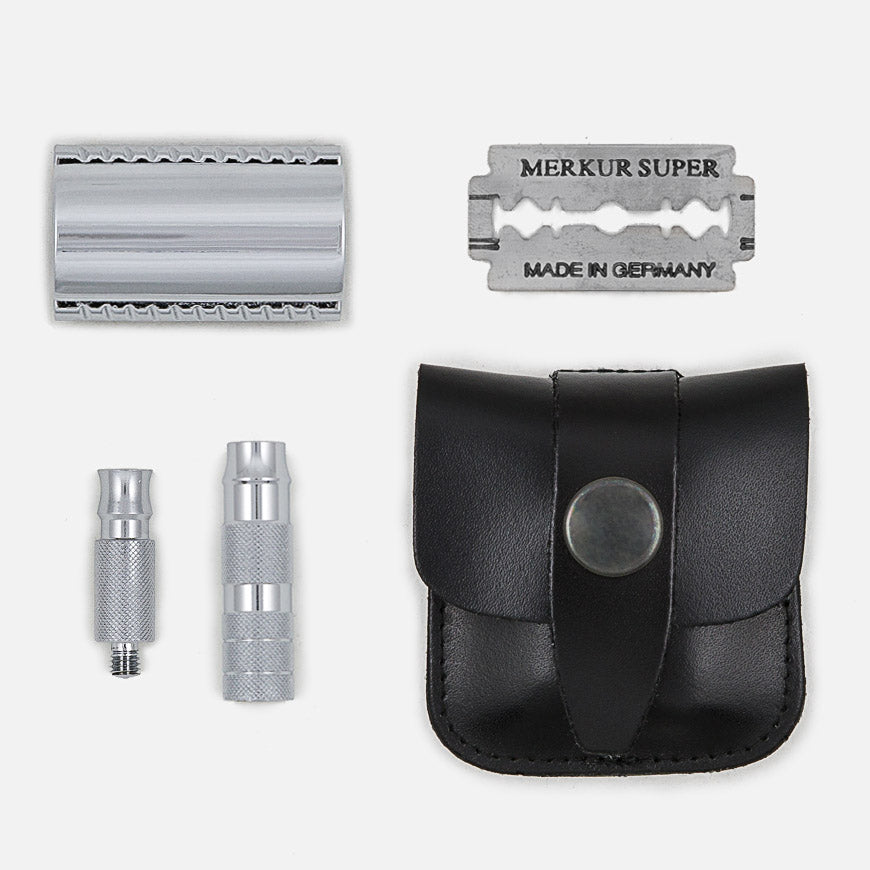 merkur travel safety razor kit leather pouch