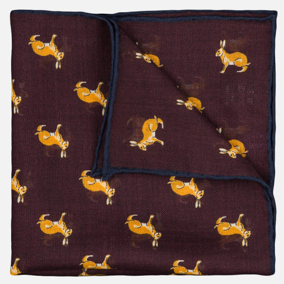 seaward stearn burgundy pocket square rabbit print